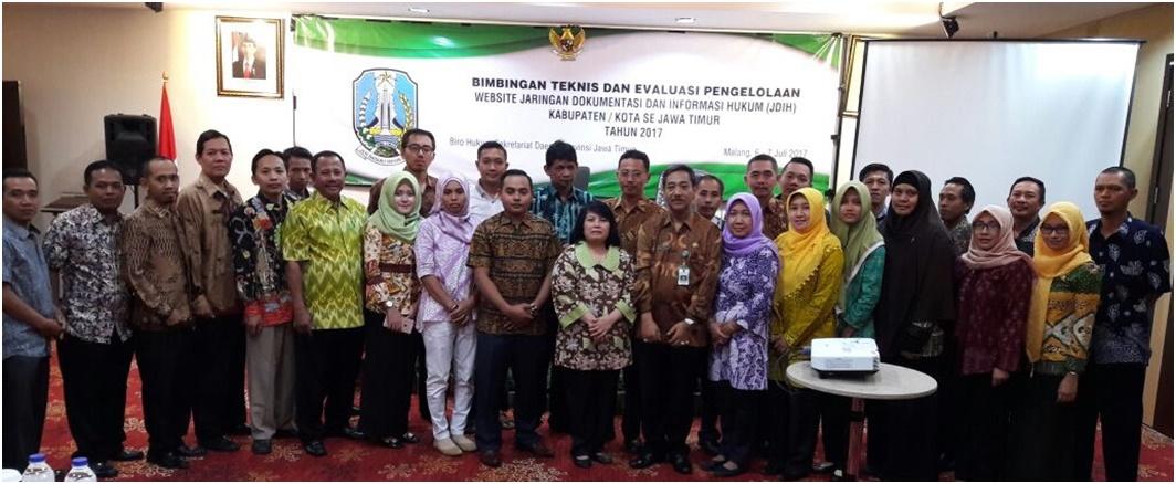 Bimtek dan Evaluasi Pengelolaan Website JDIH Kabupaten/Kota Se-Jawa Timur Tahun 2017<BR>6 s/d 7 Juli 2017 di Kota Malang Jawa Timur