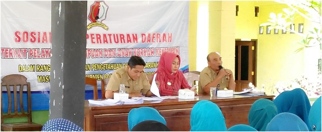 Sosialisasi Peraturan Daerah Terkait Pelayanan Perempuan dan Anak Korban Kekerasan<BR>Di Kecamatan Sukosewu Tgl. 13 September 2016